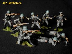 Airfix all pose collection painted German infantry. Army Guys, Airfix Models, Green Army Men, Airfix Kits, Plastic Soldier, Green Toys, Wrangler Shirts, Military Figures, Mini Paintings