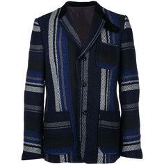 Sacai Mexican Stripe Blazer ($1,202) ❤ liked on Polyvore featuring men's fashion, men's clothing, men's sportcoats, men's sportcoats and blazers and old navy mens clothing