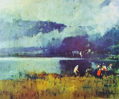 Eliseo Meifrén Roig. Día tormentoso. Óleo sobre lienzo. Firmado. 36,5 x 44 cm. Ausa, 179.
