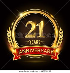 Celebrating 21 years anniversary logo with golden ring and red ribbon. - stock vector