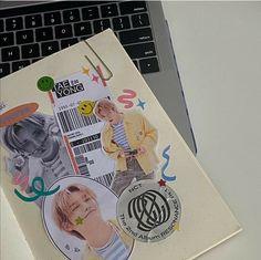 ꒰🍣꒱ 爱⁷ How To Bullet Journal, Bullet Journal Aesthetic, Bullet Journal Ideas Pages, Bullet Journal Inspiration, Kpop Diy, Nct Album, Korean Aesthetic, Kpop Merch, Scrapbook Journal
