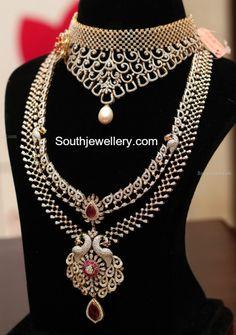 Extravagant designer diamond haram in beautiful peacock step design. simple white diamond choker necklace in geometric motifs from Manepally Indian Jewellery Design, Indian Jewelry, Jewelry Design, Initial Pendant Necklace, Diamond Pendant Necklace, Modern Jewelry, Gold Jewelry, Jewelery, Diamond Jewelry
