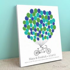 Wedding Guest Book Canvas - Tandem Bike - Bikewik - A Peachwik Personalized Stretched Canvas - 75 guest sign in - Balloons