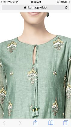 Best 12 Benarasi silk kurta with Resham n zardozi booti – SkillOfKing. Kurti Embroidery Design, Embroidery Suits, Embroidery Fashion, Salwar Designs, Kurta Designs Women, Dress Neck Designs, Blouse Designs, Kurta Neck Design, Mode Hijab