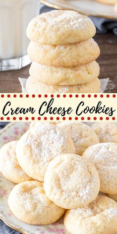 These easy cream cheese cookies are pillowy soft and melt in your mouth. They have a delicate flavor and a sprinkling of powdered sugar on top for a cookie that's not too sweet, but incredibly addictive. #creamcheesecookies #creamcheese #cookies #recipe #easy #soft from Just So Tasty