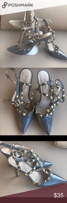 "BCBG Generation grey studded heels Very fashionable! This style has been seen everywhere! Material: grey patent leather and gold studs. Size-8. Heel-3.5"" condition-good BCBGeneration Shoes Heels"