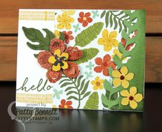 Stampin UP Botanical Blooms stamp set and matching framelits coordinate with the Botanical Gardens designer paper, from the 2016 Occasions catalog. Card by Patty Bennett