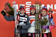 (FRANCE OUT) Marit Bjoergen of Norway takes 1st place, Heidi Weng of Norway takes 2nd place, Therese Johaug of Norway takes 3rd place during the FIS Cross-Country World Cup Men's and Women's Pursuit on January 08, 2015 in Toblach, Italy.(January 8, 2015 - Source: Vianney Thibaut/Agence Zoom/Getty Images Europ