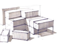 Koos Eissen -- architectural block form sketching, but product design-esque in style (using copics/markers for shading) Design Portfolio Layout, Sketch Design, Design Art, Modern Design, Design Ideas, Interior Architecture Drawing, Interior Sketch, Cafe Interior, Interior Design