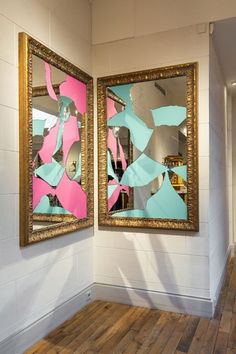Michelangelo Pistoletto - Two Less One colored 2014, mirror, gilded wood, 150 x 110 cm