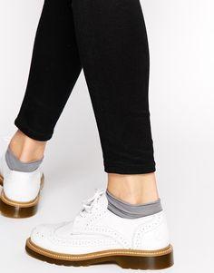 Bronx White Brogue Flat Shoes