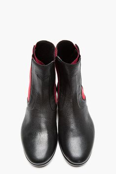 LANVIN Black Leather   Neoprene Surfer Boots Patos 597a92cbc6e