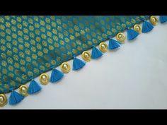 Silk Saree Kuchu /Easy to make /Design Embroidery On Kurtis, Kurti Embroidery Design, Embroidery On Clothes, Couture Embroidery, Embroidery Suits, Hand Embroidery Designs, Saree Kuchu New Designs, Saree Tassels Designs, Silk Saree Blouse Designs
