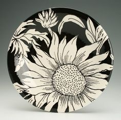 "Dinner Plate 10"" Sunflower Hand Painted Round Coupe Dinnerware Black and White"