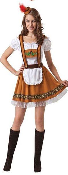 Ladies German Lederhose Fancy Dress Costume Bar Maid Oktoberfest Hen Do UK 10-14