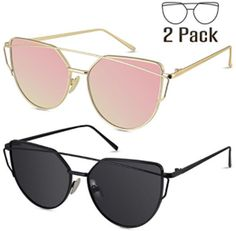 d46432df7f LIVHO G Cat Eye Mirrored Flat Lenses Street Fashion Metal Frame Women  Sunglasses GOLD PINK BLACK GRAY    Click image for more details.