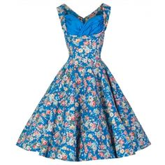 Vintage Pin Up 1950s Style Dress Floral Pinup Dresses
