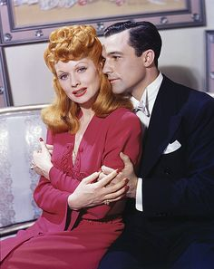 Lucille Ball and Gene Kelly  She always looks so weird to me in color.