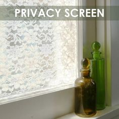 How to Make a Lace Privacy Screen - using a piece of lace the size of your window's glass and decoupage glue (you could also use liquid starch), simply brush the glue on the glass, adhere lace, then coat with a final layer of glue. This is easy to remove, so it's perfect for renters, it's very inexpensive and it gives you privacy without blocking out the light - via BuzzFeed