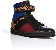Hogan Rebel Leather/Suede/Haircalf Colorblock High-Tops