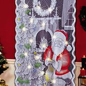 Lighted Santa Claus Lace Curtain Panel
