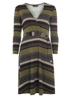*Tall Stripe D-ring Wrap Dress