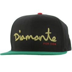 Diamond Supply Co Diamante 6 Panel Snapback Cap (black / green) DIAMANTEBKGRYLRD - $39.99