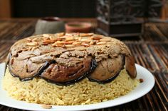 """The word makluba actually means """"upside down"""", and for good reason: this Jordanian dish is removed from the mold and turned over on a serving plate."""
