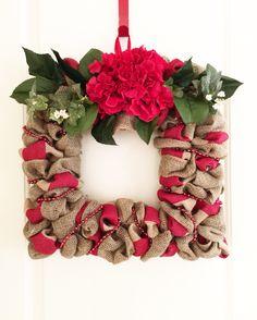 "Square hydrangea - Burlap wreath (on a 12"" frame). www.facebook.com/WbyMarilou"