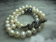 Perlenketten - Perlen Lilie Biker Vintage Kette Schlange Rebel - ein Designerstück von TOMKJustbe bei DaWanda
