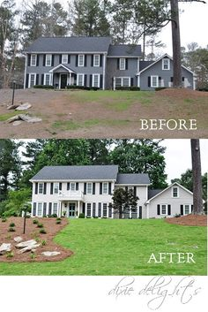Best home renovation curb appeal house plans 52 Ideas Exterior Paint Colors, Exterior House Colors, Exterior Design, Paint Colours, Colonial House Exteriors, Colonial Exterior, Modern Colonial, Small House Renovation, Home Renovation