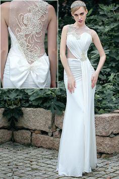 Alluring Spandex & Tulle Jewel Neckline Ivory Sheath Wedding Dresses With Beadings & Rhinestones