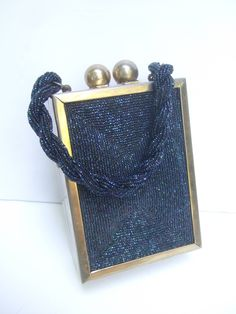 1940s Art Deco Cobalt Carnival Glass Beaded Handbag at 1stdibs
