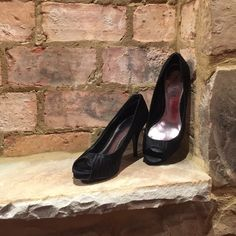 "SLASH SALE til 6:30p EST WHBM satin pumps ""White House- Black Market satin peep-toe pump, black, stored in box- small blemish on heel White House Black Market Shoes Heels"
