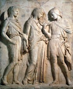 Anonymous painter - Hermes, Orpheus and Eurydice, relief