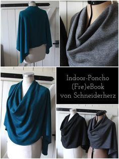 Indoor-Poncho: Ein (fre)eBook für Euch Books read books for free Poncho Crochet, Poncho Knitting Patterns, Knitting Patterns Free, Easy Crochet, Free Pattern, Diy Clothing, Sewing Clothes, Clothing Patterns, Poncho Style