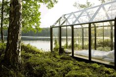 Garden Shed by architect Ville Hara & designer Linda Bergroth. Bergroth's customized version of the prefab greenhouse+shed combo acts as a summer house on a Finnish island.