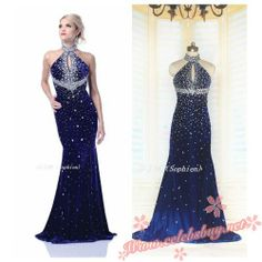 2014 Celebrity Navy beaded prom dress $159.99 each at Celebsbuy.net
