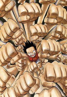 ゴムゴムの銃乱打(ガトリング)!!!!!!! <3 - One Piece - Luffy