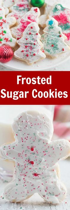 Frosted Sugar Cookies - Soft sugar cookies that are perfect for any occasions. Decorate with frosting and sprinkles for Christmas or any other time of year. Chocolate Chip Shortbread Cookies, Marshmallow Cookies, Toffee Cookies, Soft Sugar Cookies, Sugar Cookie Frosting, Chocolate Marshmallows, Spice Cookies, Frosted Cookies, Candy Cookies