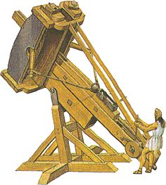 The Greek Palintonon weapon. The catapult is a device that hurls heavy objects or arrows over a large distance. It was invented in ancient Greece in 399 BC by Dionysius the Elder of Syracuse (at the same time we have the Gastraphetes). Probably earlier the Assyrians used missile devices (700 BC ?) and this idea has been passed to the Persians, the Phoenicians and later to the Greeks but the Greeks developed the first effective versions. The Romans later added wheels to the catapult to make...
