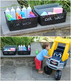 Love the idea of a car wash - I would just use the cars they had used to play with shaving cream, paint, etc.