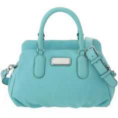 Marc by Marc Jacobs New Q Baby Groovee (1,450 GTQ) ❤ liked on Polyvore featuring bags, handbags, sea aqua, accessories handbags, blue purse, gladstone bag, purse en blue leather handbags