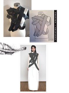 Fashion Portfolio - pigeon-themed fashion design development for a draped top; fashion sketchbook // Amy Naughton