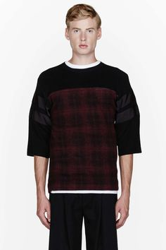 Sacai Black knit paneled T-shirt