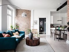 Home Decoration Rustic A Scandinavian Apartment with Exposed Brick Wall - The Nordroom.Home Decoration Rustic A Scandinavian Apartment with Exposed Brick Wall - The Nordroom Simple Living Room, Home Living Room, Small Living, Target Home Decor, Cheap Home Decor, Scandinavian Apartment, Living Room Trends, Minimalist Home Interior, Ideas