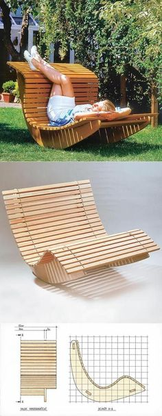 Pallet Outdoor Furniture Summer Waves Wooden Chaise Recliner - DIY outdoor furniture projects aren't just for the crafty or budget-conscious, they allow a refreshing degree of originality.Find the best designs! Outdoor Furniture Plans, Diy Garden Furniture, Garden Sofa, Garden Seating, Woodworking Plans, Woodworking Projects, Woodworking Furniture, Woodworking Logo, Woodworking Joints