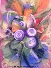 Image result for цветы из шерсти сухое валяние картины