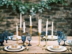 taper candles + vintage glassware | Anna K. Photography