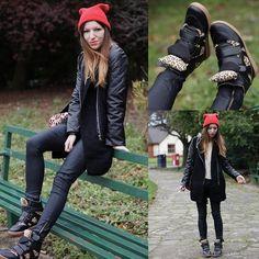 Romwe Zippered Black Panel Wool Coat, Banggood Black Leopard Shoes, Primark Red Beanie, Primark Pants